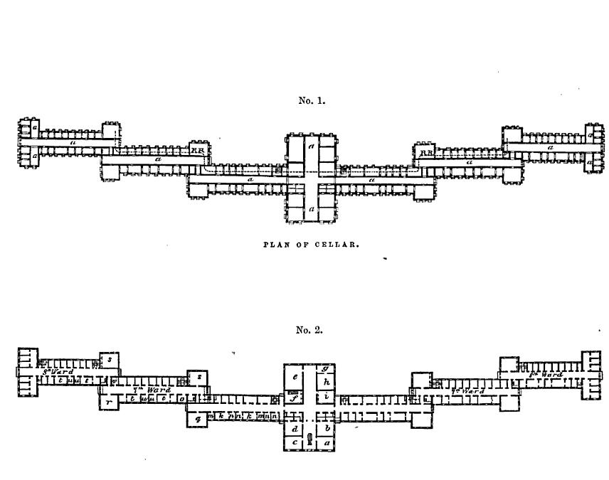 "Drawing from Thomas Krikbride's 1854 book """"On the Construction, Organization, and General Arrangements of Hospitals for the Insane"""