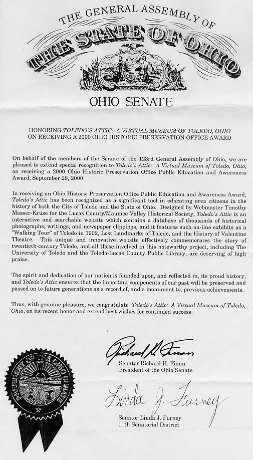 A letter from the Ohio Senate honoring Toledo's Attic