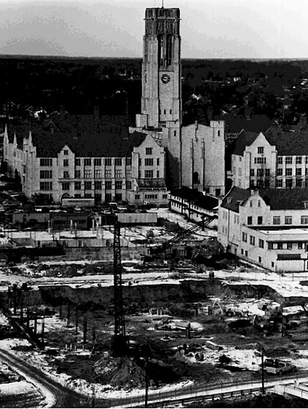 Progress is made on both William S. Carlson Library and the addition to the Student Union, 1971.
