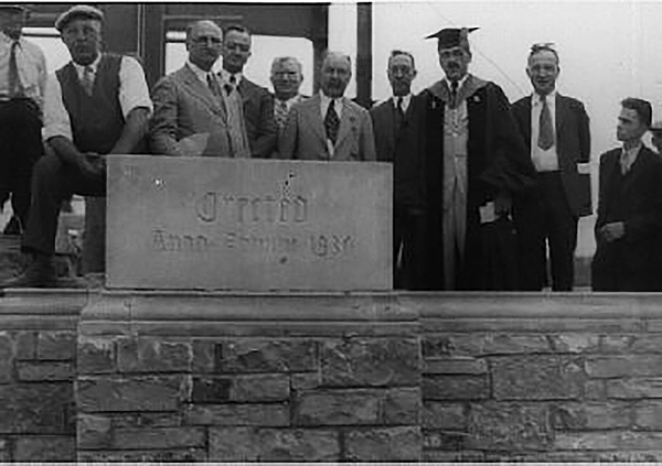 The cornerstone for University Hall was put in place at a ceremony during commencement on June 12, 1930. President Henry J. Doermann spoke at the event