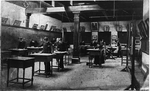 A co-educational class in mechanical drawing at the Toledo Manual Training School, ca. 1890.