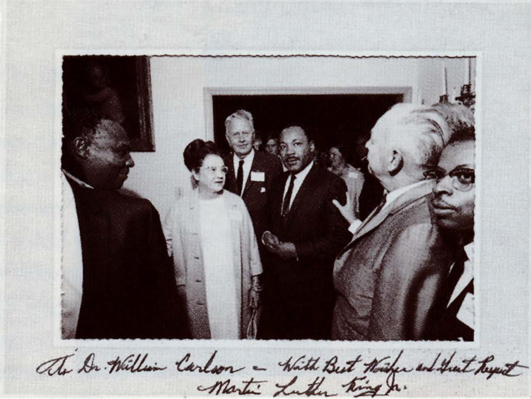 President William S. Carlson met civil rights leader Dr. Martin Luther King Jr. at a reception in Toledo, 1967.