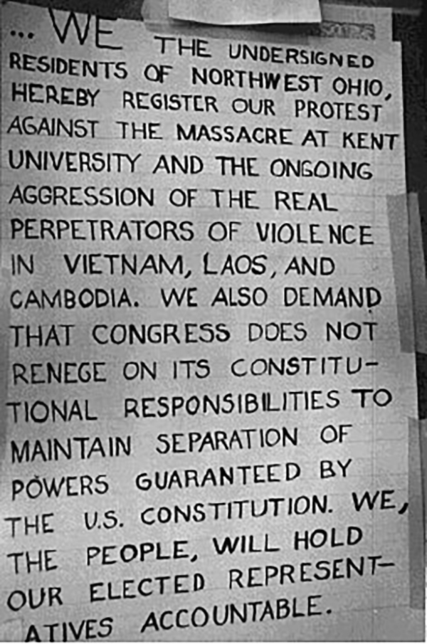 A petition signed by thousands of UT students expressed outrage at the violence at Kent State University and the Vietnam War, 1970