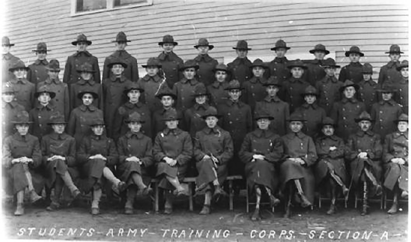 In 1918, the U.S. War Department created the Students Army Training Corps at colleges throughout the country to train young men for World War I. The Toledo University Section was housed in a dormitory building constructed on the Scott land on Nebraska Av